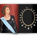 La reine Sophie d'Espagne portant le collier Mellerio en diamants, perles noires