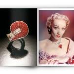 Marlène Dietrich et son bracelet jarretière en rubis et diamants
