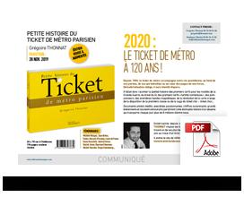 kit communiqué de presse Petite histoire du Ticket de métro parisien