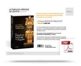 kit communiqué de presse Le Fabuleux héritage de l'Égypte édition 2019 • Christiane Desroches Noblecourt